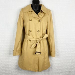 J Crew Trench Coat Double Breasted Tan Belted Sz 8
